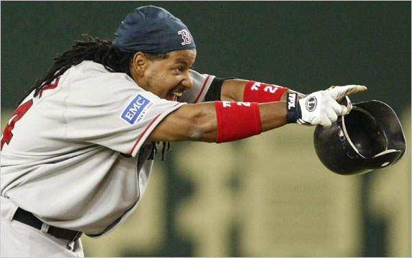 Boston Red Sox - Manny Ramirez after hitting a game-winning two run double against the Oakland Athletics in the 10th inning of their season opening game in Tokyo.