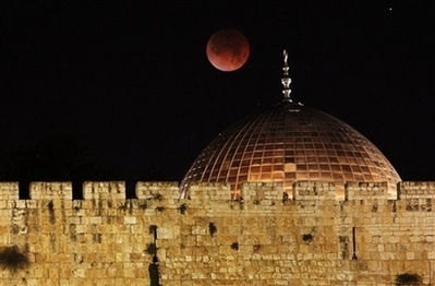 Lunar Eclipse over the Dome of the Rock Mosque in Jerusalem - February 21, 2008