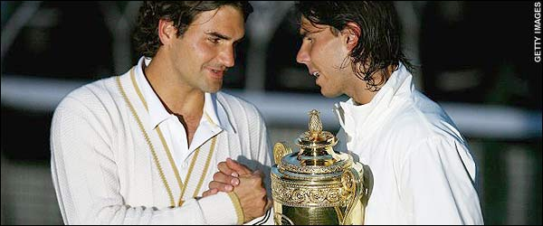 Roger Federer and Rafael Nadal   2008 Men's Wimbledon Final